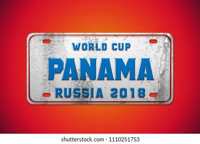 High quality render of 3D vintage car plate with Panama country flag colors. Especially designed for Russia world soccer cup 2018. You can find all 32 countries in my portfolio. 3D rendering.