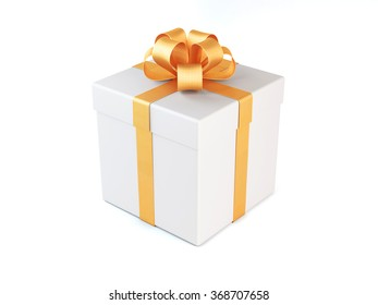 High quality render of a white gift box tied with a gold satin ribbon. There is a gold bow tie on it. Isolated on white background. Clipping path is included.