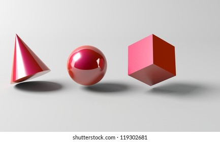 High quality rendering of a cone, sphere, and cube