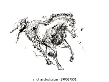 High Quality Sketch of running Horse, black ink on white background. For digital or print media.