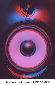 High quality speaker box for music enthusiast with retro 3d stereo effect.Professional hi-fi speakers with anaglyph filter.Sound recording studio equipment for musician.Neon blue & magenta colors