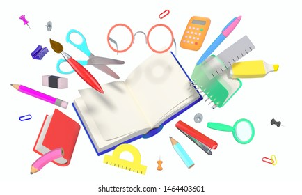 High resolution 3D render of a group of  school related different colorful objects forming dynamics composition isolated on white