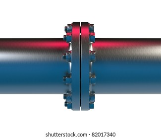High resolution 3d render of an / Pipeline and flange connection  / made of high-alloyed steel isolated on white