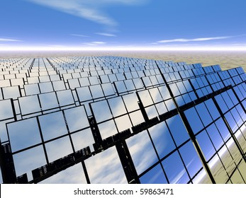 High resolution 3D rendered solar panel farm in desert - generating power with reflections of the scene around