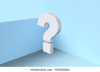 High resolution 3D rendering of a large question mark in the corner of a blue room