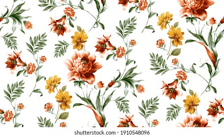 High Resolution, The Amazing Fabric Abstract Border Background, Halftone flowers bouquet, Floral illustration, Leaf and buds, Botanic composition abstract background for greeting card and textile.