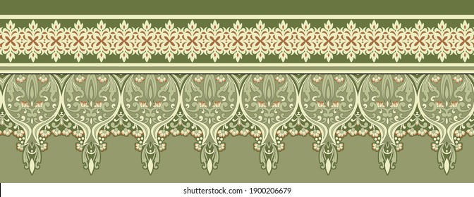 High Resolution. Antique illustration. Hand drawing wallpaper. Paisley vintage floral, feather motif ethnic seamless background, Printable colors abstract lace pattern - Illustration