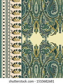 High Resolution Antique illustration. Vintage paisley with floral border. Decorative ornament backdrop for fabric, textile, wrapping paper, card, invitation, wallpaper, digital design.