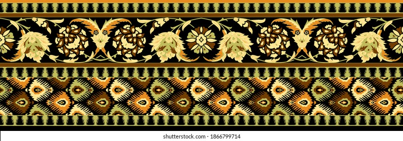 High Resolution, Beautiful Floral, paisley, baroque pattern border. Damask pattern. Royal wallpaper. Flowers on a background for wall paper, greeting card, textile and digital print - Illustration