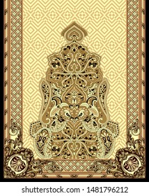 High Resolution Border. Antique Baroque Ornament, Leaves and flowers for textile and digital print design - Illustration
