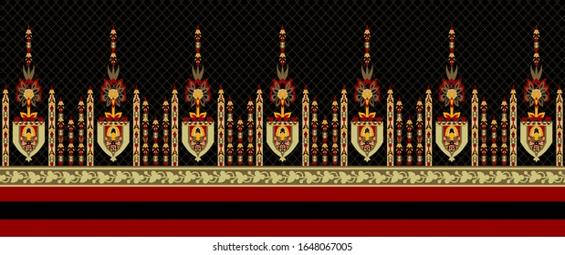 High Resolution Border. Antique Baroque and Paisley Ornamental, Leaves and flowers for textile and digital print design - Illustration