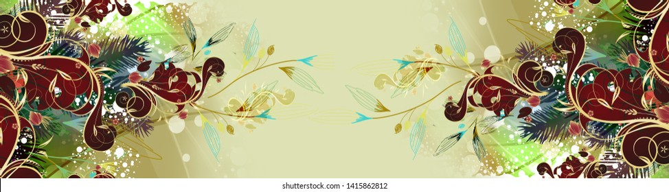 High Resolution. Colorful Digital And Textile Paisley Border Print Design - Illustration