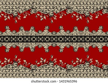 High Resolution. Colorful Digital And Textile Paisley, Baroque and Floral Border Print Design - Illustration