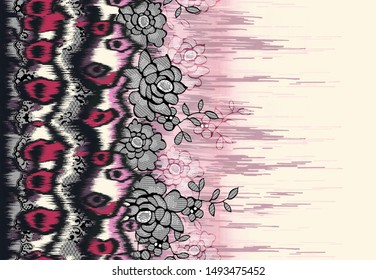 High Resolution. Colorful Digital And Textile Abstract Floral Border Print Design - Illustration