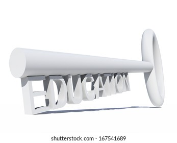 High resolution concept or conceptual white 3D key isolated on white background as a metaphor for child,family,educat ion,life,home,key,l ove. Also for school,learn,wisdom ,success or achievement