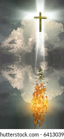 High Resolution Cross Hangs in Sky over Water with Fire Burning on Waters Surface