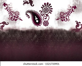 High Resolution. Digital And Textile Floral Trendy Colour Border With Abstract Background and Paisley  Print Design