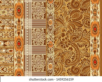 High Resolution. Ethnic desig with geomtric lines isolated background. Textile And Digital Print Ornament Border With Mughal Floral Background Design Islamic Art - Illustration