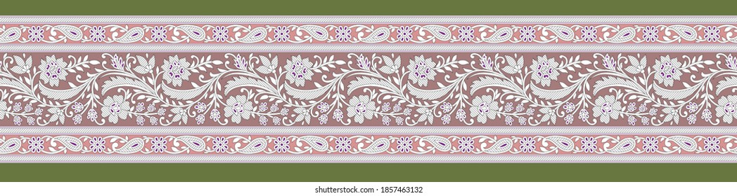 High Resolution. Ethnic design. Textile And Digital Print, Ornament Border With Mughal Floral Background Design Islamic Art, Leaves and flowers for digital print design - Illustration