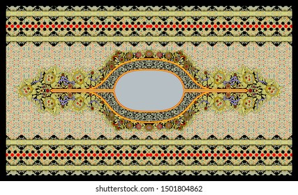 High Resolution A ethnic floral border design. A beautiful border with antique color scheme. Digital And Textile Four Side Border Paisley Print Design - Illustration