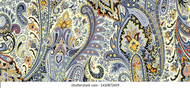 High Resolution. Floral paisley pattern trendy colour background. Colorful leaves and flowers tribal asian style ornament amazing graphic backdrop. - Illustration