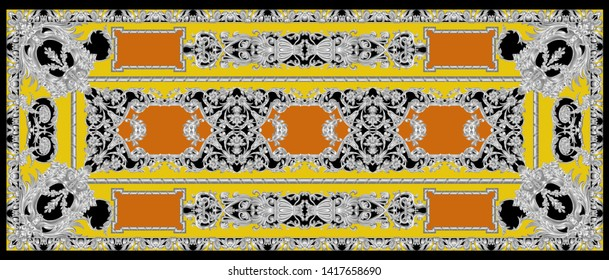 High Resolution Four Side Border. Beautiful Vintage Seamless Silver Ornamental Segment on Yellow for Textile and Digital Print - Illustration