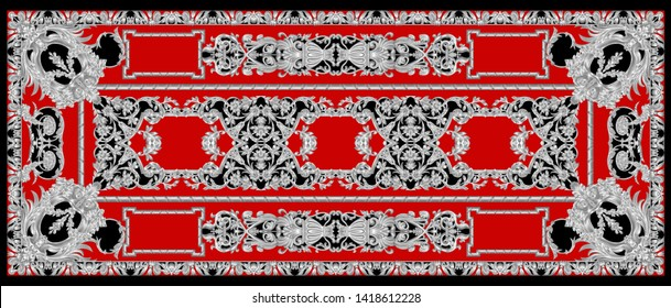 High Resolution Four Side Border. Beautiful Vintage Seamless Silver Ornamental Segment on Red for Textile and Digital Print - Illustration