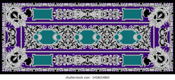 High Resolution Four Side Border. Beautiful Vintage Seamless Silver Ornamental Segment on Purple for Textile and Digital Print - Illustration