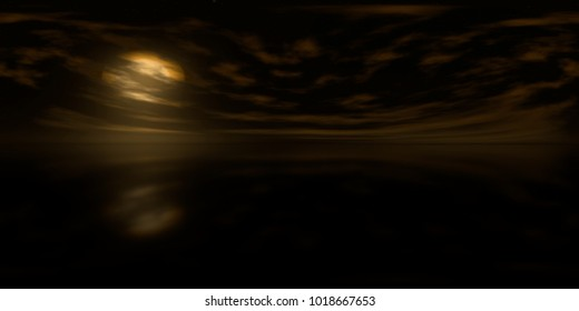 high resolution HDRI map: environment map for equirectangular projection at sunrise, spherical panorama, 3d illustration background (dark golden sky on alien planet over calm water with clouds and sta