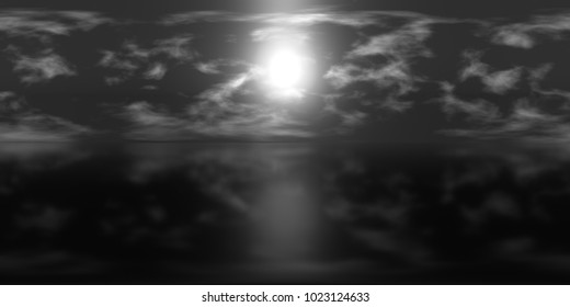 high resolution HDRI map: environment map for equirectangular projection, spherical panorama, 3d illustration background (black and white night sky with bright moon and fluffy clouds over calm ocean)