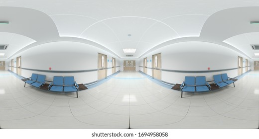 High resolution HDRI panoramic view of a bright hospital corridor. 360 panorama reflection mapping hallway medical interior. 3D rendering