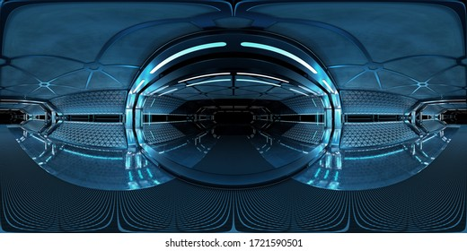 High resolution HDRI panoramic view of dark blue spaceship interior. 360 panorama reflection mapping of a futuristic spacecraft room 3D rendering