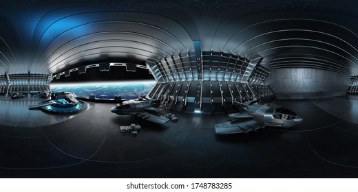 High resolution HDRI panoramic view of a dark blue futuristic landing strip spaceship interior. 360 panorama reflection mapping. 3D rendering elements of this image furnished by NASA
