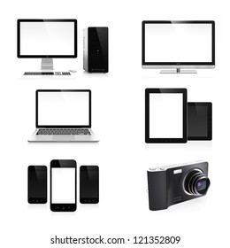 High resolution image set of modern electronic devices isolated on white background