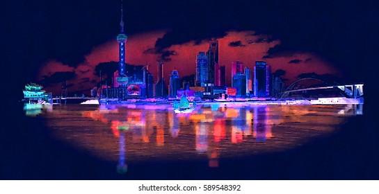 high resolution panoramic night view SHANGHAI city illustration