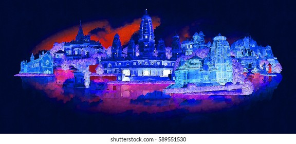 high resolution panoramic night view KANPUR city illustration