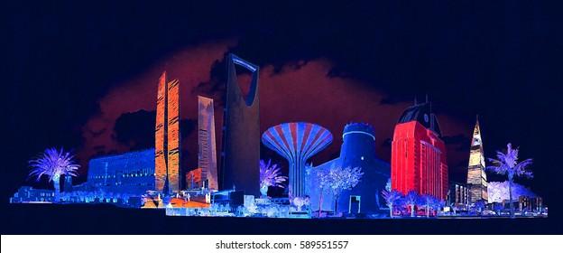 high resolution panoramic night view RIYADH city illustration