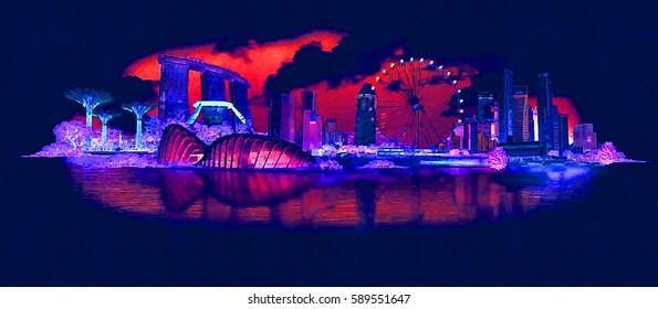 high resolution panoramic night view SINGAPORE city illustration