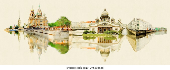 high resolution panoramic water color illustration st. petersburg