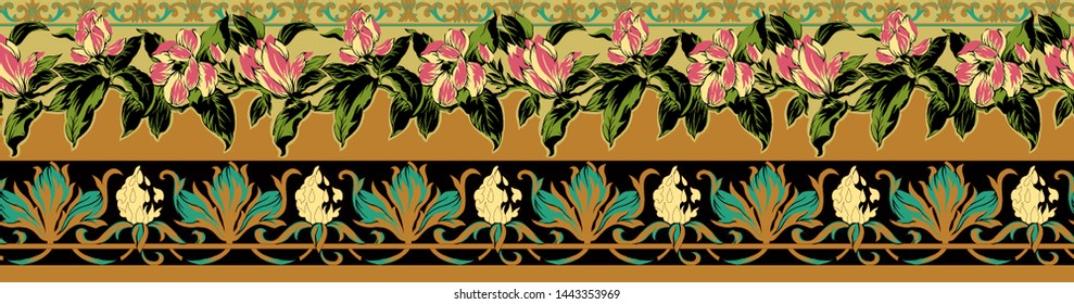 High Resolution Printable. Colorful flowers and stylish floral pattern border design for textile and digital print - Illustration