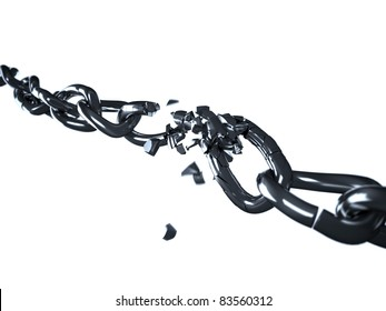High resolution render of an / breaking chain / on white