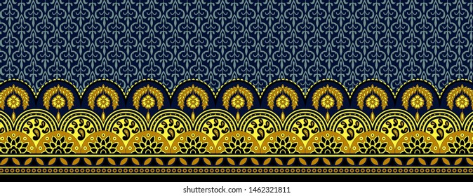High Resolution. seamless horizontal border with ethnic ornament decorated curls, Colorful Digital And Textile Paisley and Floral Border Print Design - Illustration