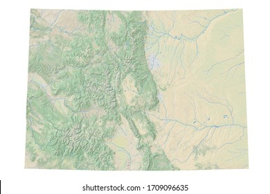 High resolution topographic map of Colorado with land cover, rivers and shaded relief in 1:1.000.000 scale.