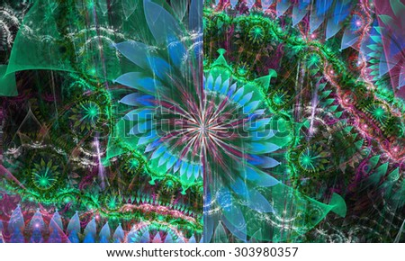 High Resolution Wallpaper Of A Psychedelic Abstract Alien Sunflower Deocrated With Various Flower And Leafy Ornaments