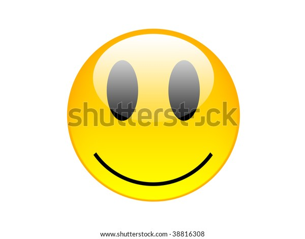 High resolution yellow smilie on white background