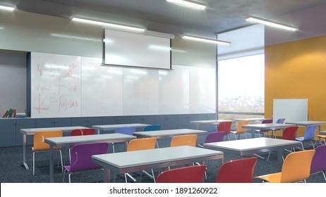 High school classroom interior. 3d illustration