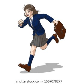 A high school girl running to school