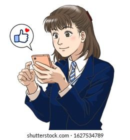 A high school girl with a smartphone in her hand