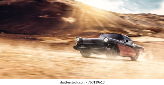 High speed black retro car in desert - road warrior concept (with grunge overlay and motion blur) - 3d illustration