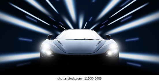 High speed black sport car in the night with city lights: 3d illustration